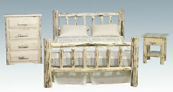 Log Bedroom Set Amish Made Rustic Queen Bed Frame Dresser and Nightstand NEW