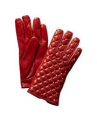 Valentino Rockstud Spikes Cashmere-Lined Leather Gloves