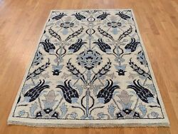 5'x7' HandKnotted Pure Wool Arts and Crafts Design Peshawar Oriental Rug G37370