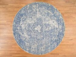 10'x10' Round Wool and Silk HandKnotted Broken Persian Design Rug G38220