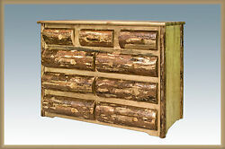 Amish Made 9 Drawer Dresser Rustic Log Cabin Furniture Real Half Log Fronts