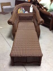 Frontgate Charleston Wicker Outdoor Chaise Lounge Chair without Cushion $1700