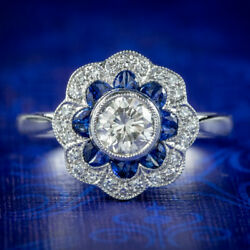SAPPHIRE DIAMOND CLUSTER RING 18CT WHITE GOLD ENGAGEMENT RING