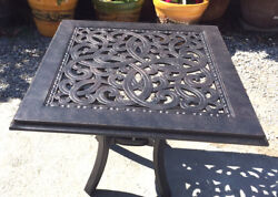 Patio end table square cast aluminum luxury outdoor furniture All - Weather