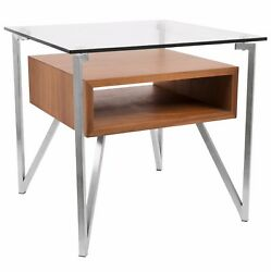LumiSource Hover End Contemporary Table in Walnut LMS TB HVR ET WL $257.00