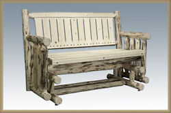 Rustic Outdoor Log Glider Amish Made Benches Lodge Cabin Handmade Patio Seating
