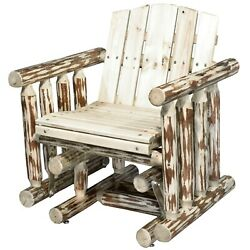 Outdoor Amish Made Glider Chairs Rustic Log Porch Rocker Lodge Cabin Single Seat