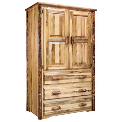 Rustic Log Armoire Amish Built Entertainment Center Western Lodge Cabin Style