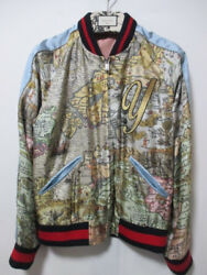 GUCCI DIY Alessandro Michele Y Embroidered Patch MAP Pattern Silk Bomber Jacket
