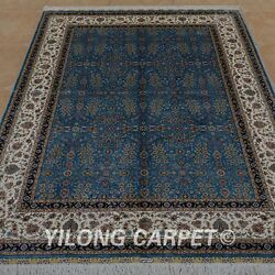 YILONG 5.9'x8.2' Handknotted Persian Silk Rug Home Library Indoor Carpet 0758