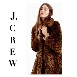 J CREW COLLECTION Faux Fur LEOPARD Print Coat G9553 XS SMALL NWT *SOLD OUT* NEW