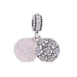 Authentic Silver Mother's Day Sweet Mother Pink Enamel Dangle Charm Xmas Gifts