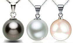 925 Sterling Silver Black White Pink Man-made Pearl Pendant Necklace Fashion