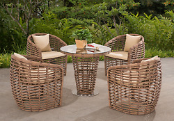 Cafe Table and Chairs Patio Furniture Conversation Set 5 Piece Wicker Porch Deck