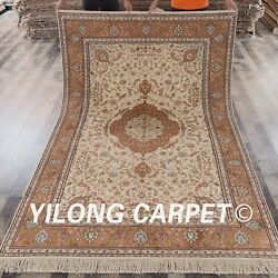 YILONG 6'x9' Hand Knotted Persian Silk Rug Family Room Oriental Carpet S86B