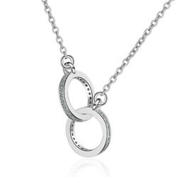 925 Sterling Silver Natural Zircon O O Pendant Necklace Women Party Jewelry Gift