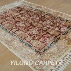 YILONG 5.5'x8' HandKnotted Silk Persian Rug Oriental Indoor Mansion Carpet 1697