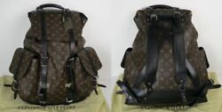 LOUIS VUITTON LV Monogram Canvas Black Macassar Christopher Leather Backpack Bag