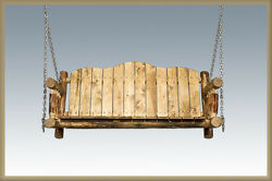 Rustic Log Porch Swing Hanging Patio Swings Wood Seat with Chains Amish Made