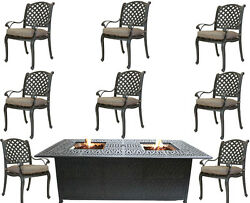 Propane fire pit dining table and chairs cast aluminum patio furniture 9 piece