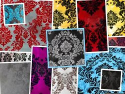 Taffeta Damask Velvet Flocking Fabric 58quot; Wide Sold By The Yard $4.50