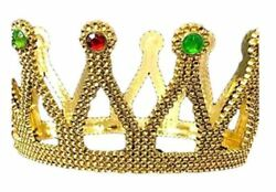 Gold Plastic Jeweled Crown King Queen Majestic Royalty Adult Costume Prop $5.48