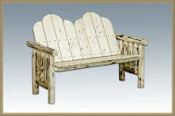 Rustic Outdoor Log Benches Amish Made Solid Wood Bench Handcrafted Montana Lodge
