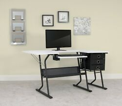 Studio Designs Eclipse Sewing Hobby Center BlackWhite Gaming Drawing Desk Table