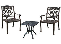 Outdoor bistro 3 piece set patio end table Elisabeth and 2 chairs Flamingo