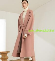 Real 100%Wool Double-faced  Cashmere Jacket Coat handsew Women Retro Winter