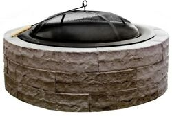 Wood Burning Fire Pit Lightweight 42 in Concrete Earth Brown Outdoor Patio New
