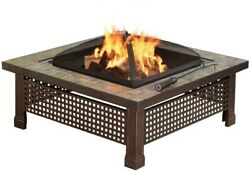 Portable Outdoor Fire Pit Patio Wood Burning 34 in Square Natural Slate Tile New