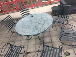 Outdoor Furniture set modern Design 6 chairs Glass round TABLE Steel Glass