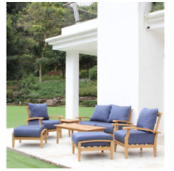 7 Piece Teak Wood Outdoor Patio Seating Set Garden Furniture Blue Cushions
