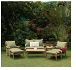 Outdoor Patio Furniture Green Cushions 7-Piece Deluxe Teak Deep Seating Set