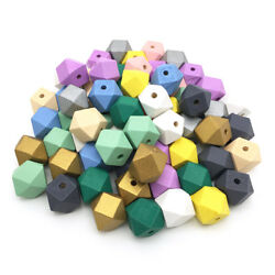 30Pcs Hexagon Wood Spacer Beads Painted Wooden Beads DIY Baby Jewelry Making