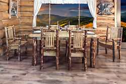 Amish Made Kitchen Table Chairs Set Rustic Log Cabin Dining Room Furniture Sets