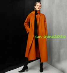 Women's 100% Natural Wool Fur Cashmere Mid Long Trench Parka Coats Outwear Size