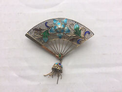 ANTIQUE IMPERIAL ART NOUVEAU RUSSIAN SILVER GOLD PLATED ENAMEL BROOCH 1910