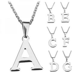 Fashion Stainless Steel Letter A-Z Chain Monogram Necklace Pendant Jewelry 17.6