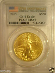 2005 $50 PCGS MS69 FS 20th Anniv. Gold American Eagle