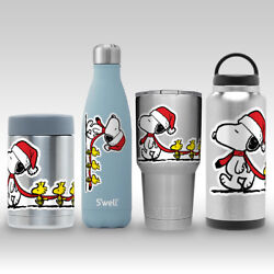 Snoopy Woodstock Christmas Peanuts Decal Sticker for Yeti RTIC Flask Tumbler Mug