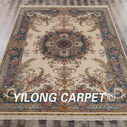 YILONG 8'x11' Handknotted French Royal Style Silk Carpet Indoor Area Rug ZQG095A