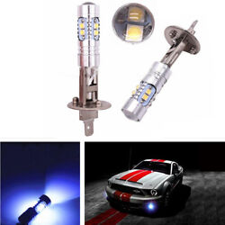 2x Car Light-blue 8000K H1 10-CREE LED Bulbs Fog Lights High Power DRL Lamp 12V