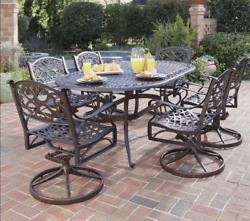Large Outdoor Dining Room Set Metal Table Chairs 7-pc Cast Aluminum Backyard Brz