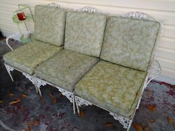 Vintage 4 PIECE Wrought Iron Patio Furniture couch sofa chairs ORIGINAL CUSHIONS