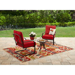 3 Piece Outdoor Set Table and Chairs Patio Furniture Garden Lawn Deck Yard Red