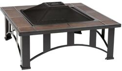 Fire Sense Outdoor Patio Fire Pit Wood Burning 34 in Steel Square Mission Style