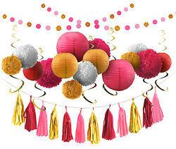 Voplop Party Tissue Decorations of 35 pcs Paper Pom Poms and Lanterns Wedding $16.99
