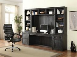 Hudson Rustic 6pc Home Office Furniture Desk Set Dark Distressed Midnight Finish